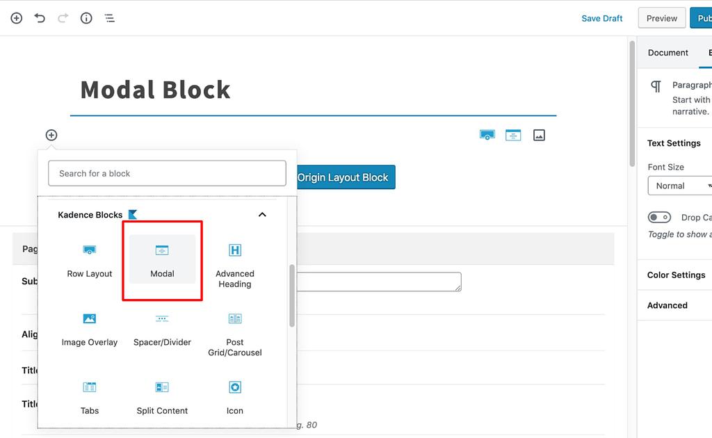 Select Modal Block