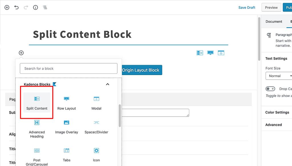 Select Split Content Block