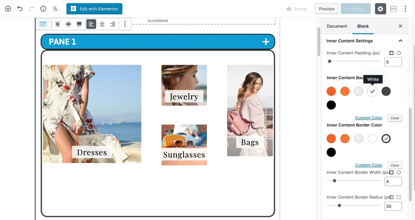 Customize Content Container