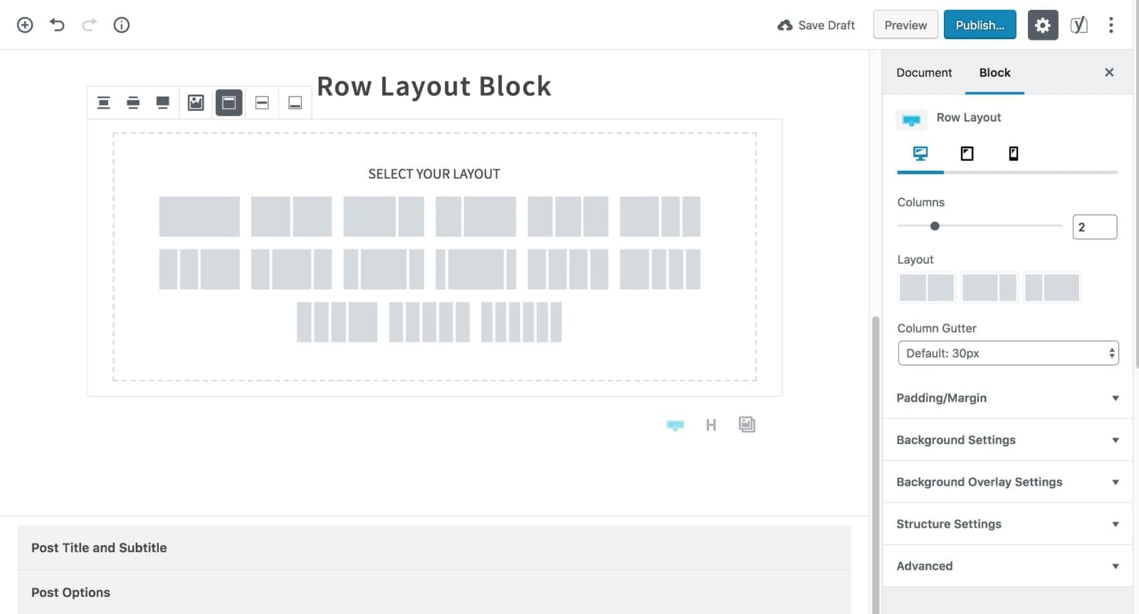 Select Row Layout