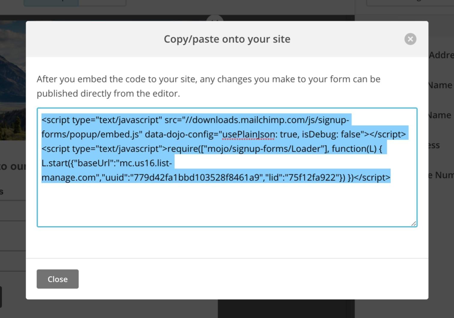 copy-form-embedded-code-kadence-themes