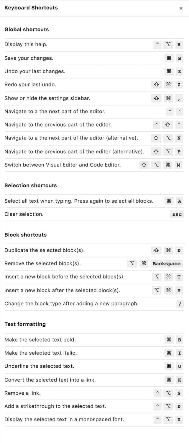 Gutenberg Shortcuts Full