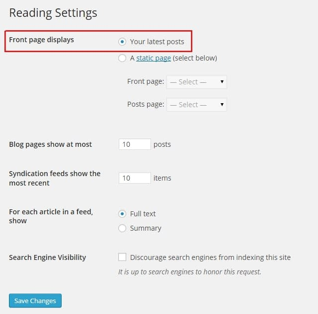 Front page reading settings