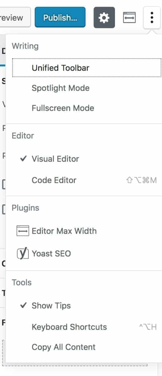 Gutenberg More Options