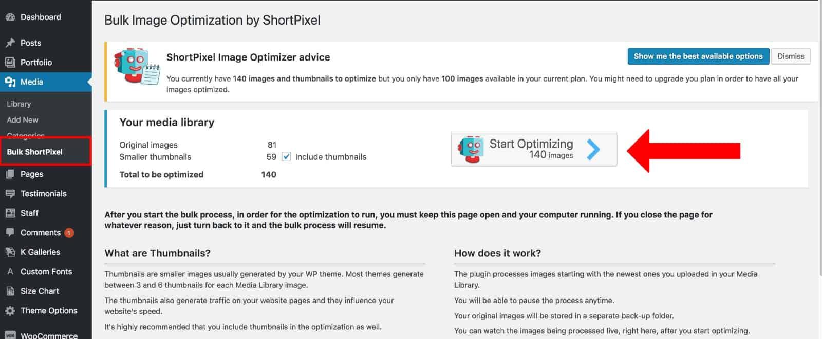 short pixel bulk optimization kadence themes
