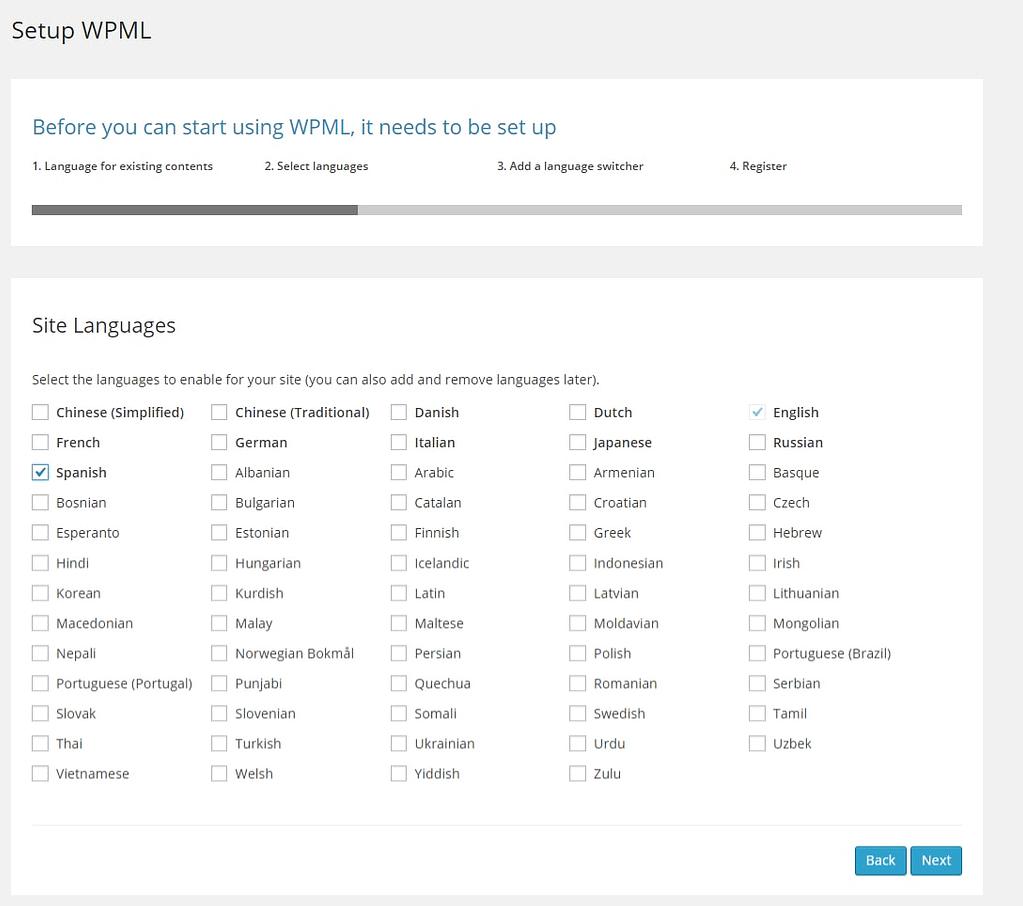 Languages options wpml