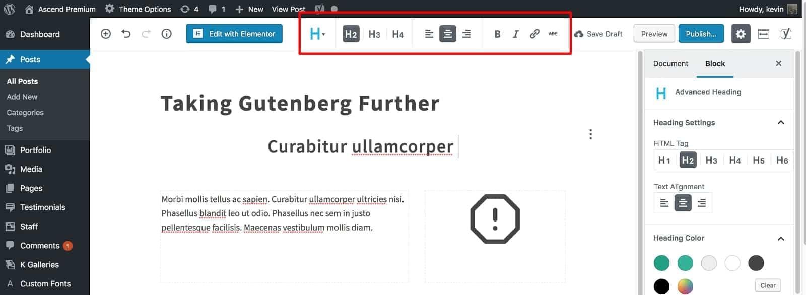 Gutenberg Unified Toolbar