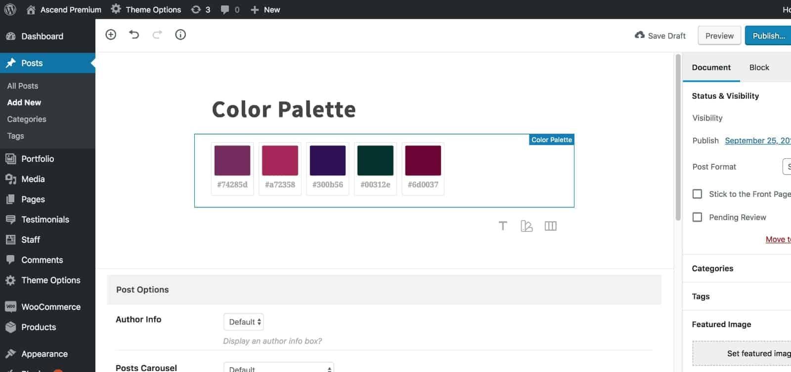 Configure Color Palette