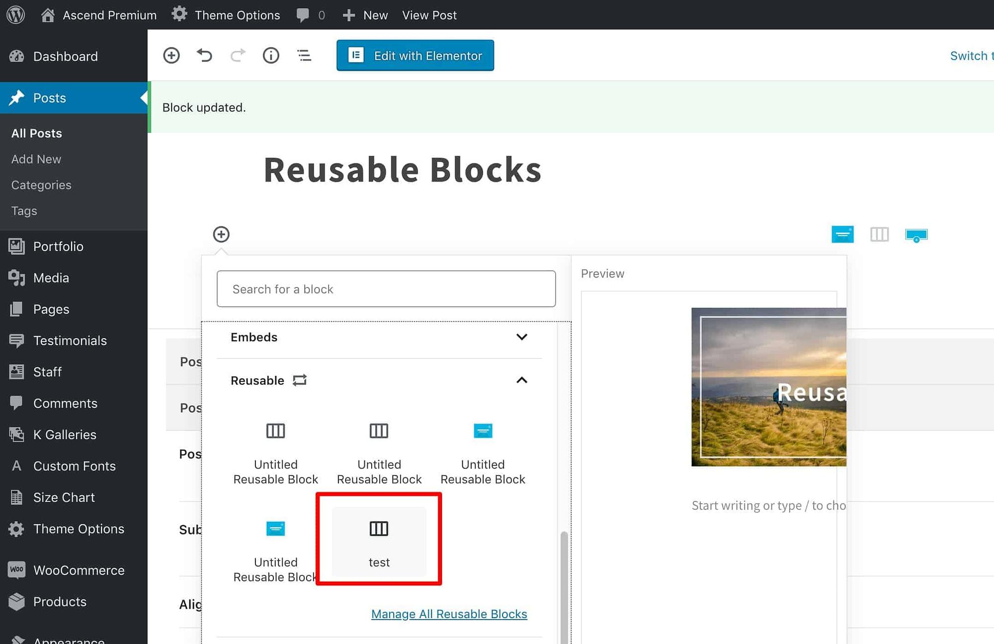 Access Reusable Block