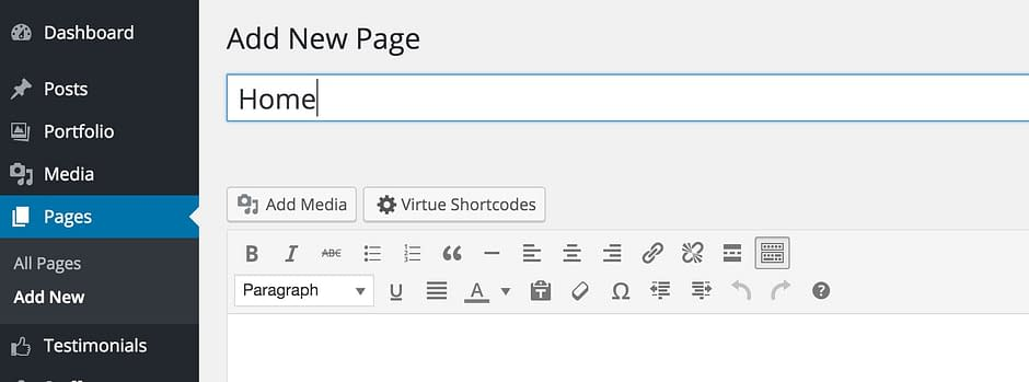 Creating a new page called home