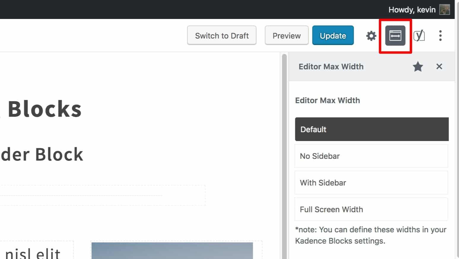 Editor Width of Post