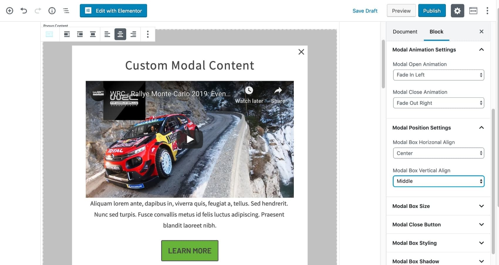 Modal Animation and Position