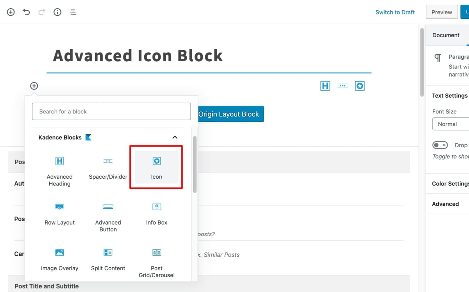 Select Icon Block