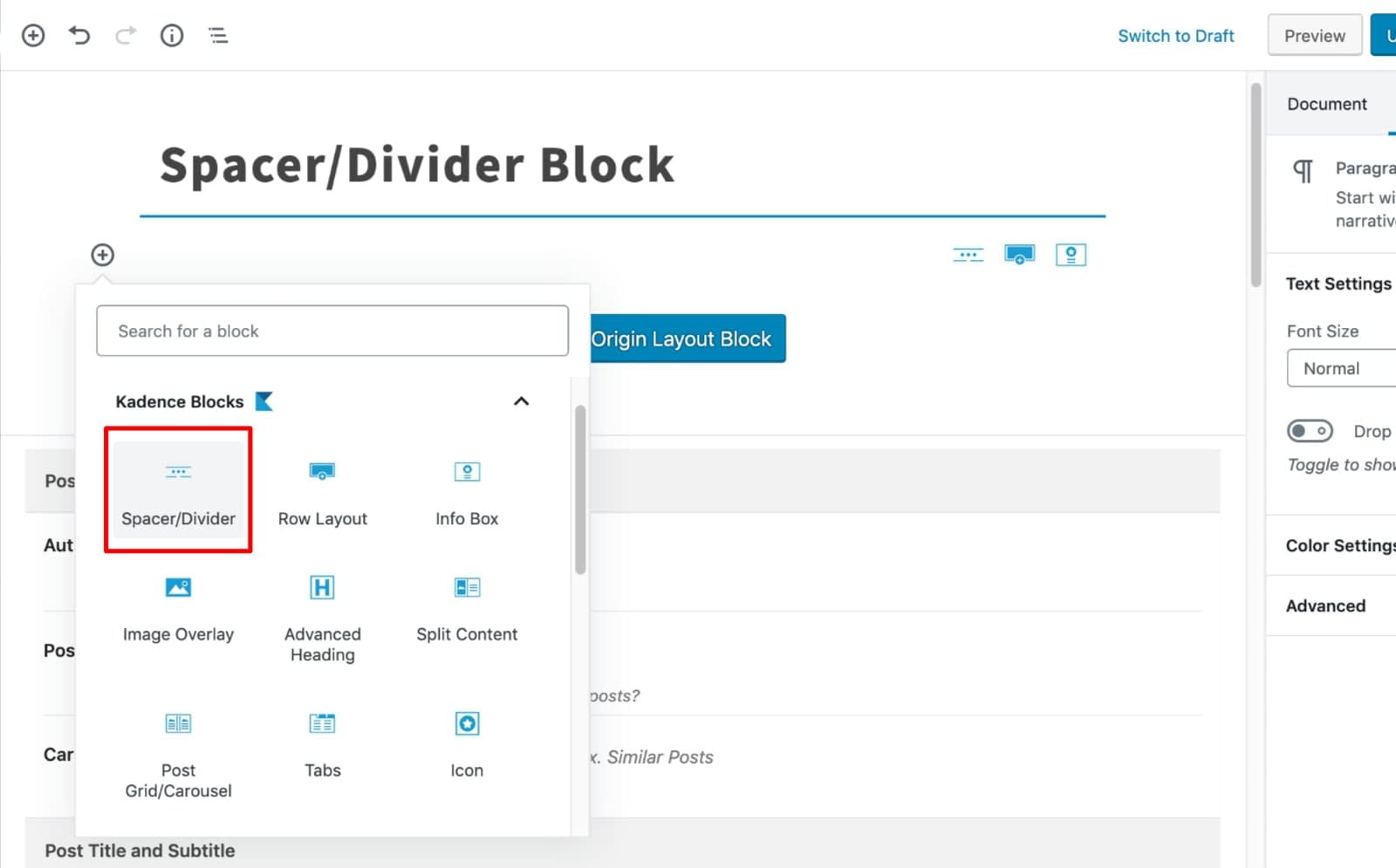 Select Spacer Block