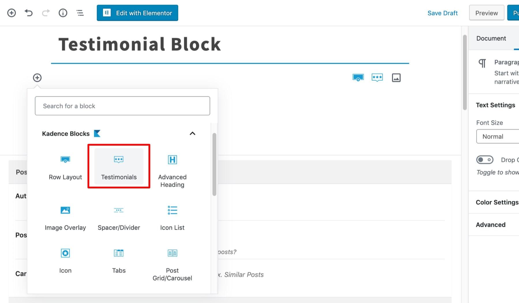 Select Testimonial Block
